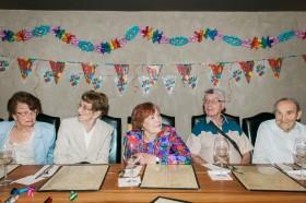 A Jewish family celebrates a 92 birthday in Tel Aviv, Israel.